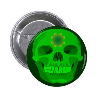 St Patrick's Day Irish Shamrock Skull Pins