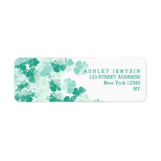 St. Patricks Day Irish watercolor Shamrock pattern Return Address Label