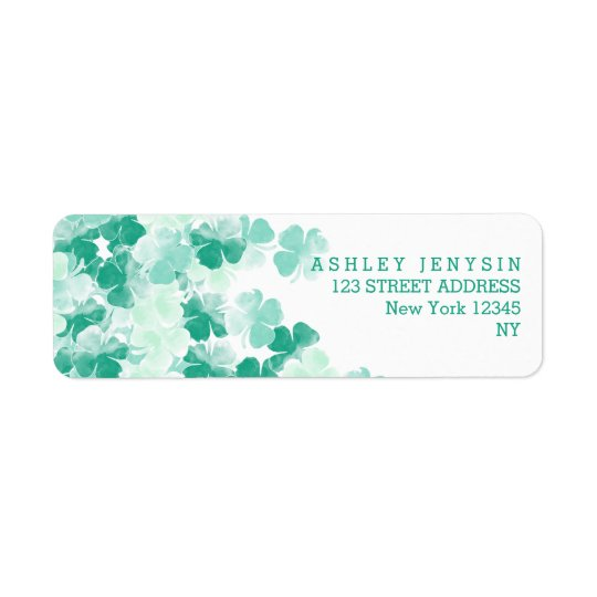 St. Patricks Day Irish watercolor Shamrock pattern Return Address Label