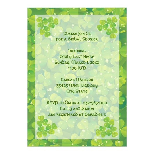 St. Patrick's Day Irish wedding bridal shower Card