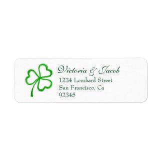 St. Patrick's Day Irish Wedding Green Shamrock Return Address Label