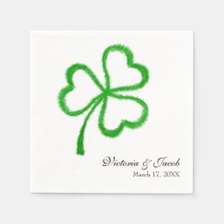 St. Patrick's Day Irish Wedding Shamrock Name Date Disposable Napkin