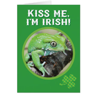 St. Patrick's Day Kiss Me, I'm Irish Frog Prince Card