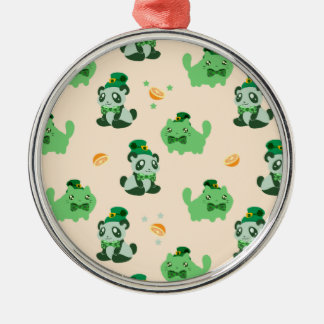St. Patrick's Day Kitty and Panda Pattern Silver-Colored Round Decoration
