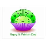 St. Patrick's Day Ladybug Cupcake Postcard