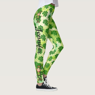 St Patrick's Day Leggings Green YOUR NAME Pants