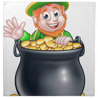 St Patricks Day Leprechaun and Pot of Gold Napkin