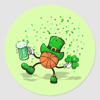St. Patrick's Day Leprechaun Basketball Round Sticker