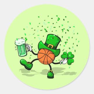 St. Patrick's Day Leprechaun Basketball Classic Round Sticker