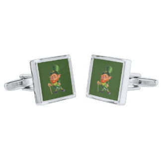 ST.PATRICK'S DAY LEPRECHAUN cuff links Silver Finish Cufflinks