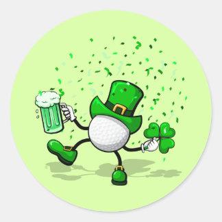 St. Patrick's Day Leprechaun Golf Round Sticker