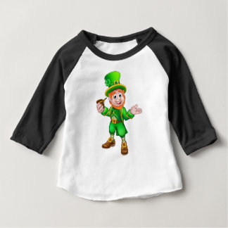 St Patricks Day Leprechaun Holding Pipe Baby T-Shirt
