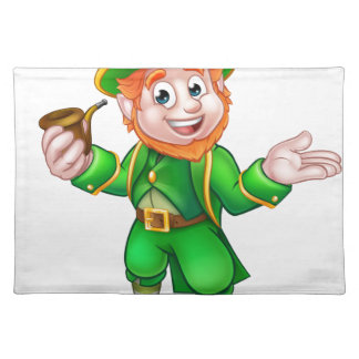 St Patricks Day Leprechaun Holding Pipe Placemat