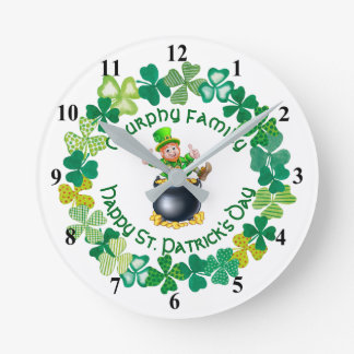 St. Patrick's Day Leprechaun  Personalized Family Round Clock
