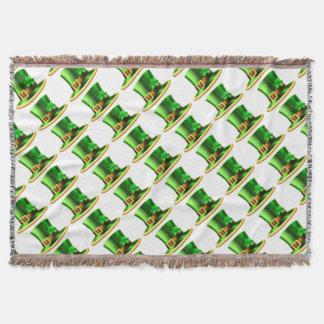 St Patricks Day Leprechaun Shamrock Green Hat Throw Blanket