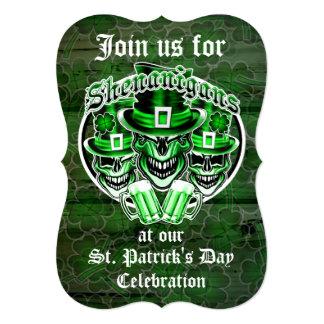 St. Patrick's Day Leprechaun Skulls: Shenanigans Card