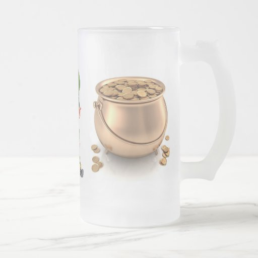 ST. PATRICK'S DAY LEPRECHUAN AND GOLD mug