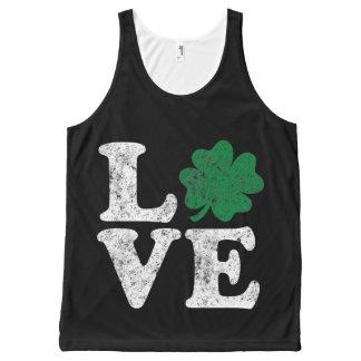 St Patrick's Day LOVE Shamrock Irish All-Over Print Singlet