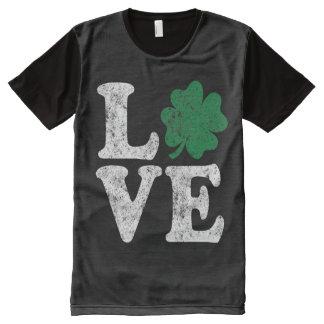 St Patrick's Day LOVE Shamrock Irish All-Over Print T-Shirt