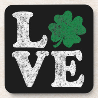 St Patrick's Day LOVE Shamrock Irish Coaster