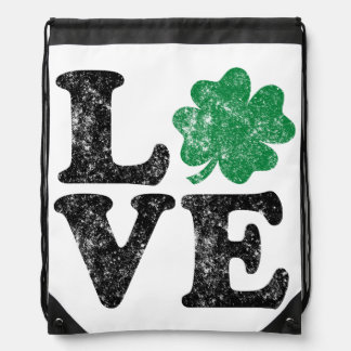 St Patrick's Day LOVE Shamrock Irish Drawstring Bag
