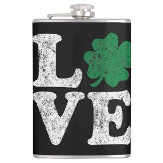 St Patrick's Day LOVE Shamrock Irish Flask