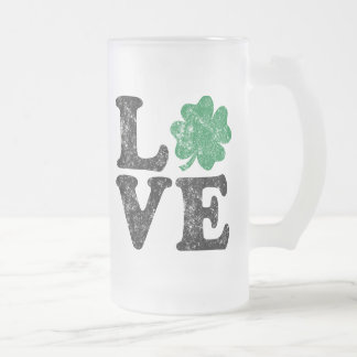 St Patrick's Day LOVE Shamrock Irish Frosted Glass Beer Mug
