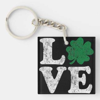 St Patrick's Day LOVE Shamrock Irish Key Ring