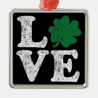 St Patrick's Day LOVE Shamrock Irish Metal Ornament