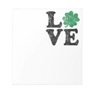 St Patrick's Day LOVE Shamrock Irish Notepad