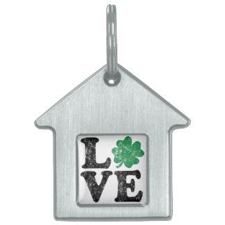 St Patrick's Day LOVE Shamrock Irish Pet Name Tag