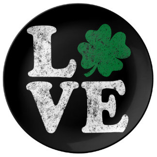 St Patrick's Day LOVE Shamrock Irish Plate