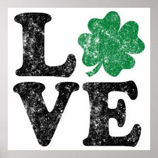 St Patrick's Day LOVE Shamrock Irish Poster