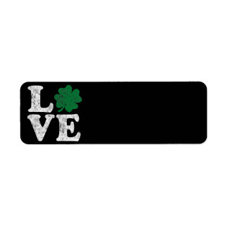 St Patrick's Day LOVE Shamrock Irish Return Address Label
