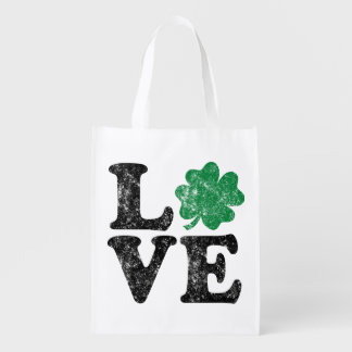 St Patrick's Day LOVE Shamrock Irish Reusable Grocery Bag