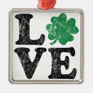 St Patrick's Day LOVE Shamrock Irish Silver-Colored Square Decoration