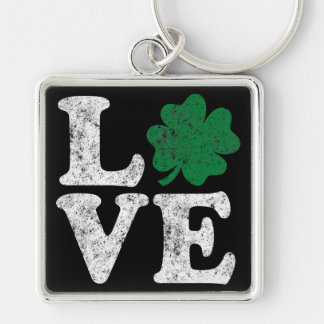 St Patrick's Day LOVE Shamrock Irish Silver-Colored Square Key Ring