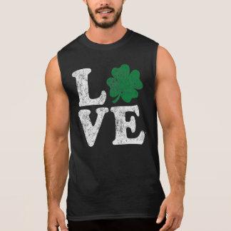 St Patrick's Day LOVE Shamrock Irish Sleeveless Shirt