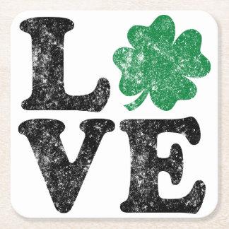 St Patrick's Day LOVE Shamrock Irish Square Paper Coaster