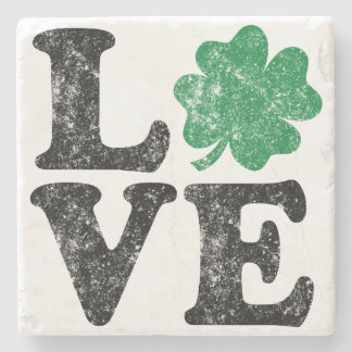 St Patrick's Day LOVE Shamrock Irish Stone Coaster