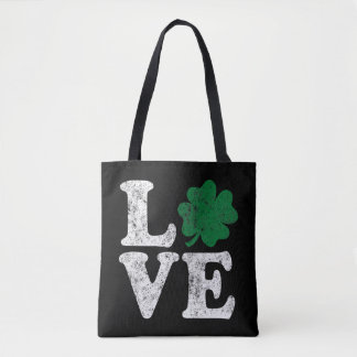 St Patrick's Day LOVE Shamrock Irish Tote Bag