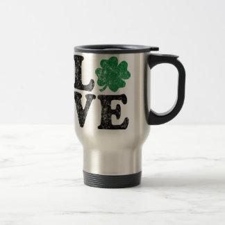 St Patrick's Day LOVE Shamrock Irish Travel Mug