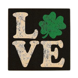 St Patrick's Day LOVE Shamrock Irish Wood Coaster