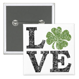 St Patricks Day LOVE with shamrock 15 Cm Square Badge