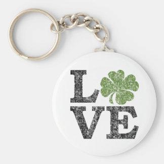 St Patricks Day LOVE with shamrock Keychain