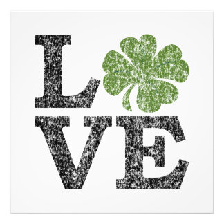 St Patricks Day LOVE with shamrock Photo Print