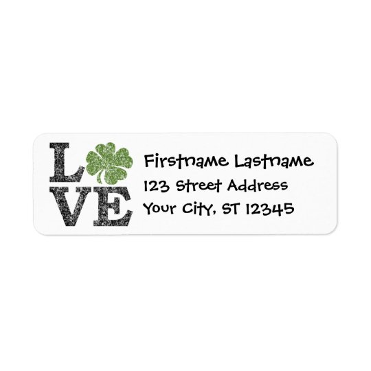 St Patricks Day LOVE with shamrock Return Address Label