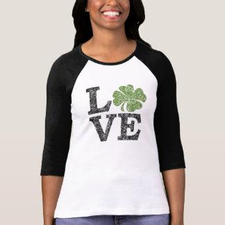 St Patricks Day LOVE with shamrock Tshirt