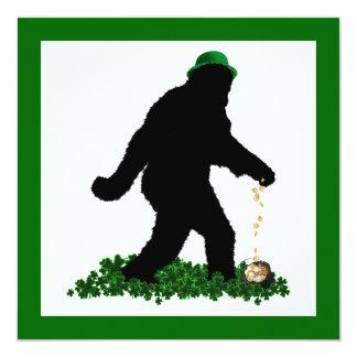 St Patrick's Day Lucky Sasquatch 13 Cm X 13 Cm Square Invitation Card