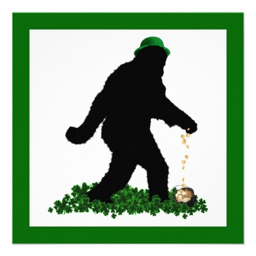St Patrick's Day Lucky Sasquatch Custom Announcements
